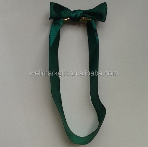 Green Polyester Satin Ribbon Pretied Bow Tie Knot With Elastic Band Satin Pre-tied Bow
