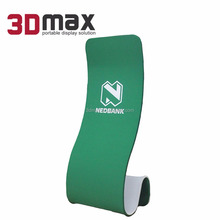 Trade Show Premium Vertical S Shape Portable Advertising Tension Fabric Banner Stand With Full Color Graphic Printing