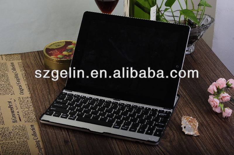 2013 Aluminum alloy aluminum case with bluetooth keyboard for ipad 2