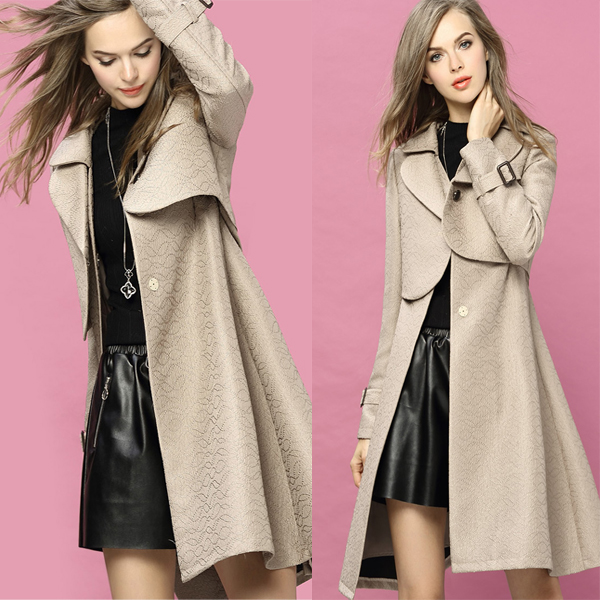 New arrival Autumn Winter Coat Big flap collar waist tape Two layer top Long jacquard dust coat for women