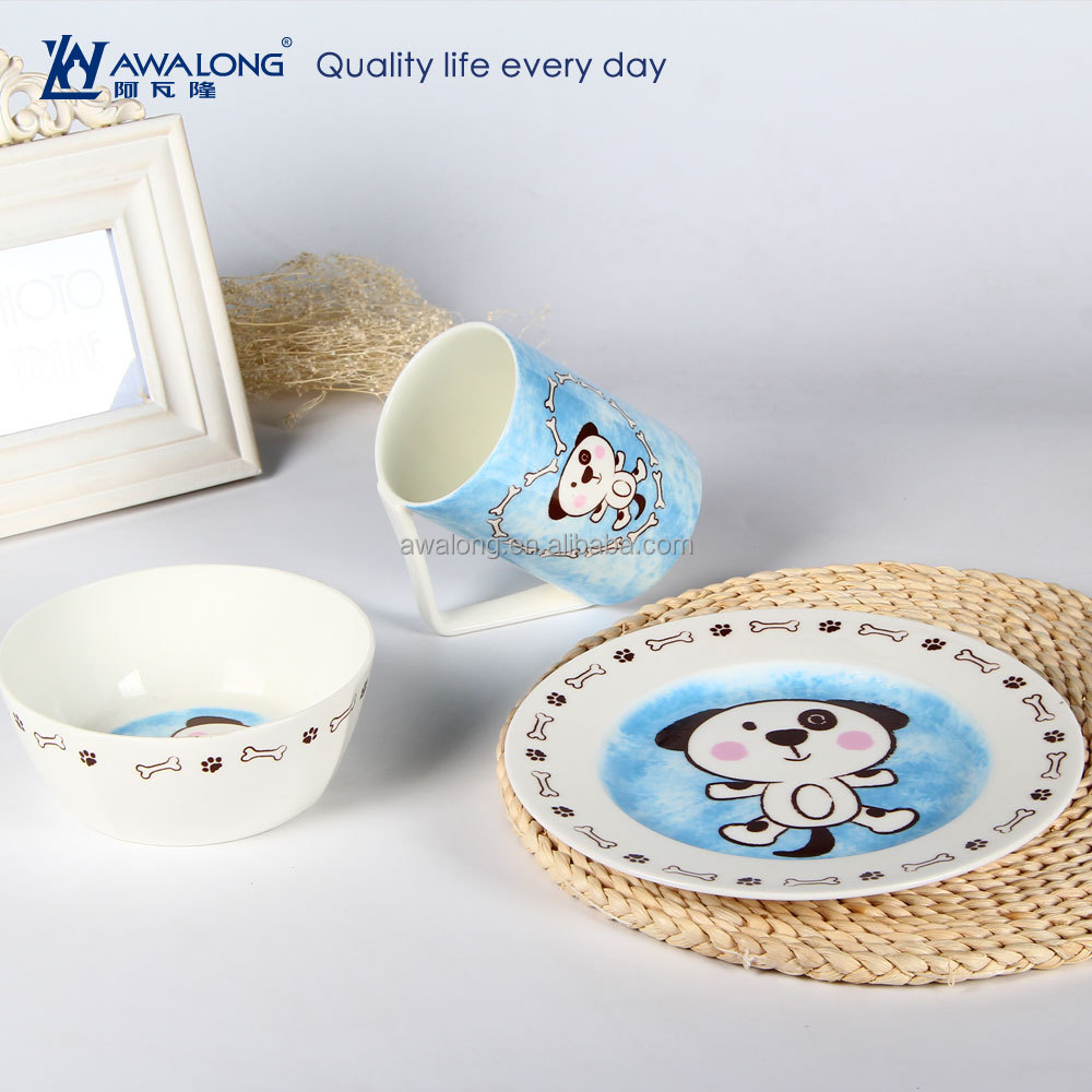 3pcs Mug Bowl Plate Animal Pattern Ceramic Dinnerware Sets