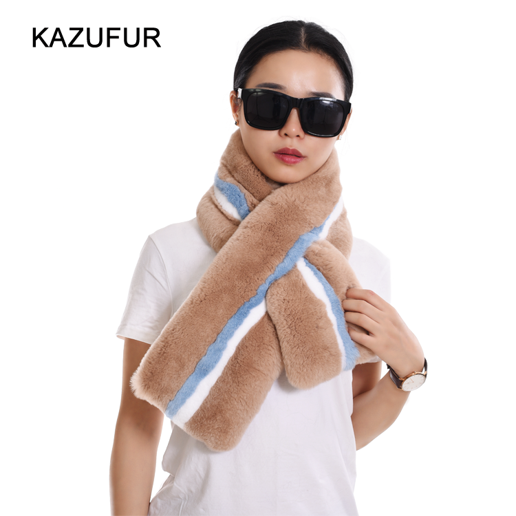 2016 New Fashion Rex Rabbit Fur Scarf For Women Real Fur Scarf KZ160082