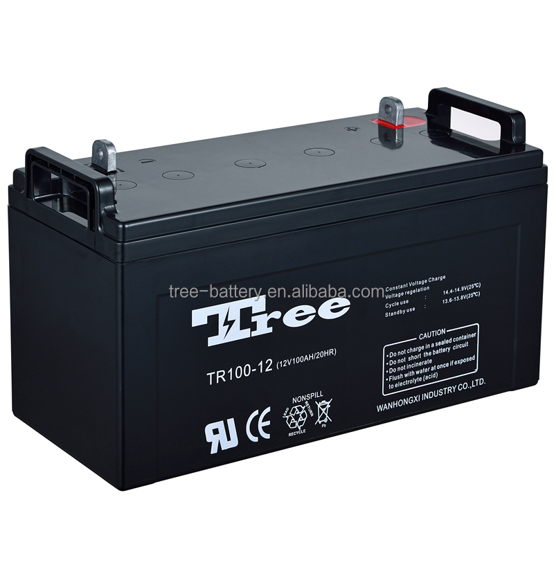 Maintenance Free 12V 100AH rechargeable lead acid solar panel battery for electric fuel pump