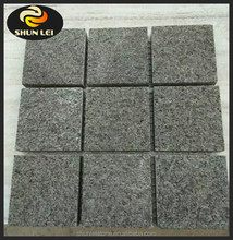 Cheap Grey Color Granite Cube Paving Stone,Cobble Stones on mesh