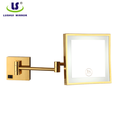 luxury wall led light metal gold frame mirror