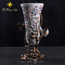 2016 antique chinese ceramic vase with bronze home decoration