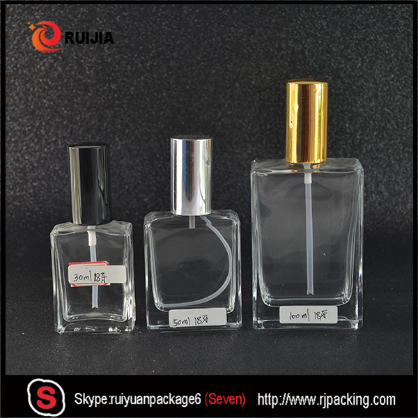 15ml 30ml 50ml 100ml rectangle glass perfume spray bottle with black atomiser