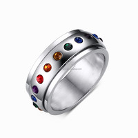 Spinner Ring with Rainbow Color Gems Gay Men Ring