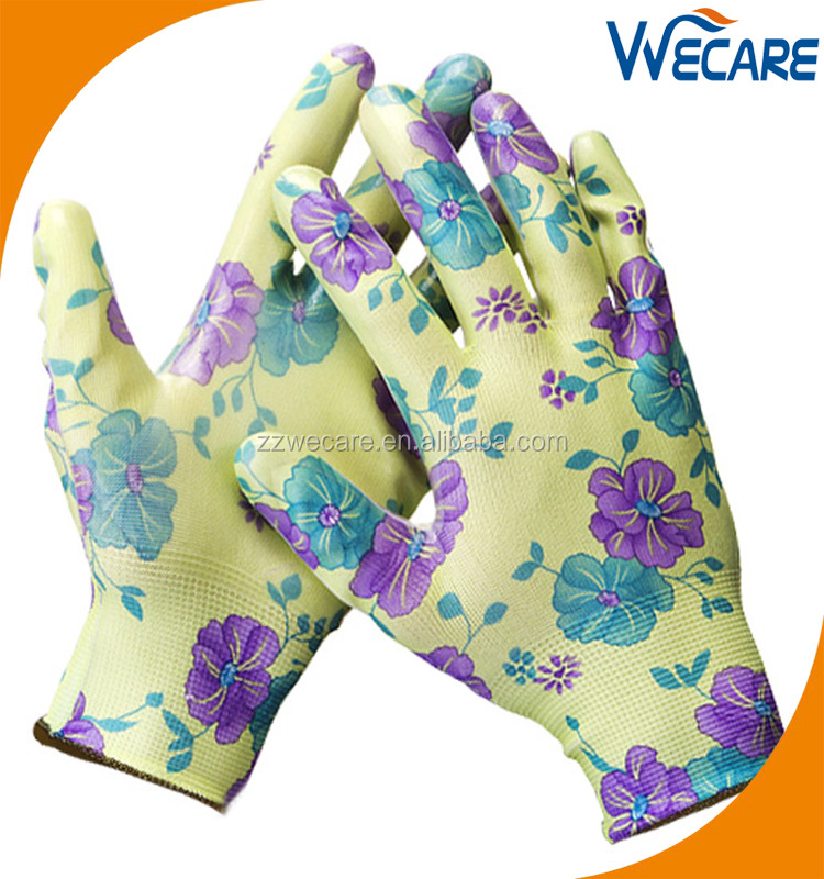 Ladies Lightweight Hand Protective Flower Polyester Garden Work Colored Nitrile Gloves