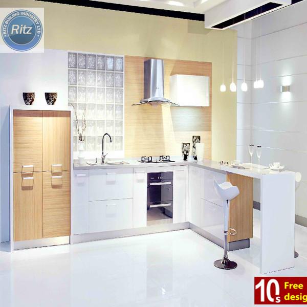 Lemari dapur lemari pulau mdf putih lacquer lemari dapur for Como decorar mi cocina