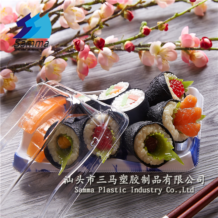 Lunch box clear japanese frozen tray plastic sushi disposable food container box, eco friendly plastic food container malaysia