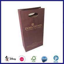 Recycled reusable die cut shopping wine bottle paper bag