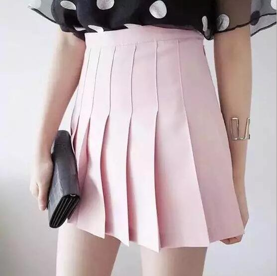 BEATIFUL PLEATED SKIRTS PURE COLOR SHORT SKIRTS HIGHT WAIST SKIRTS FOR LADIES