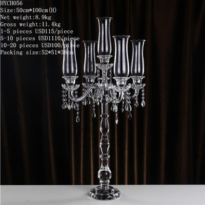 Hot sale 5 arm crystal glass candle holder candlestick candelabrum
