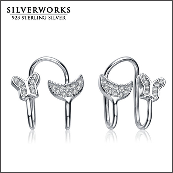 2016 Wholesale New Product Silver 925 Butterfly Pave Setting Huggie Earings For Women