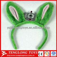 Popular with children green rabbit ears shaped plush crown hair band for Hallowen