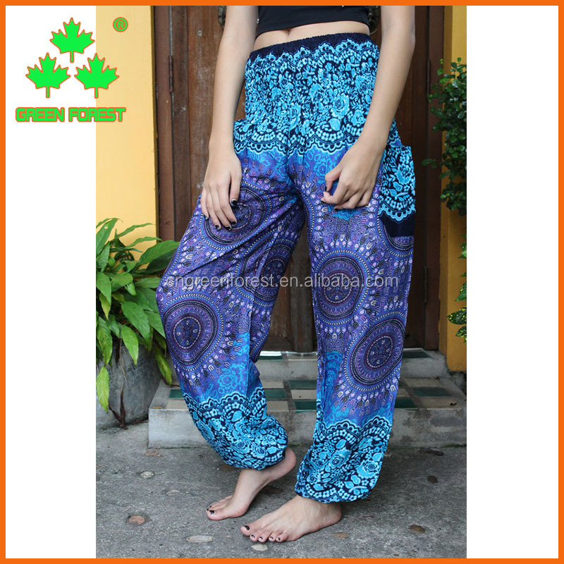 peacock design floral harem boho yoga hippie pants
