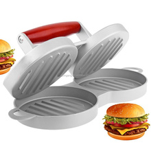 Cast Aluminium Patty Press Double Burger Press With Wooden Handle