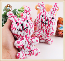 Dog toys handmade knitted pet cotton rope rabbit 15cm cat toy pet toy