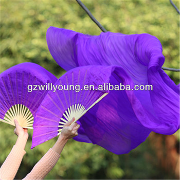 180*90CM, Belly Dance Real Silk Fan Veils, PURPLE