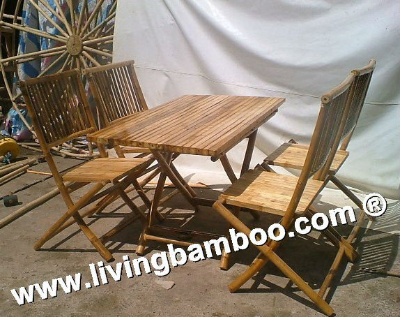 VIETNAM BAMBOO DINING TABLE AND CHAIRS