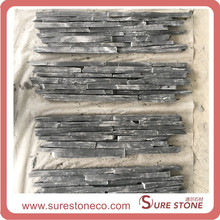 Flat and Rough Surface Wall Panel Black Colour Ledge Stone Cultured Stone Stacked Stone