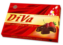 chocolate candy in a box - DIVA (cherry taste)