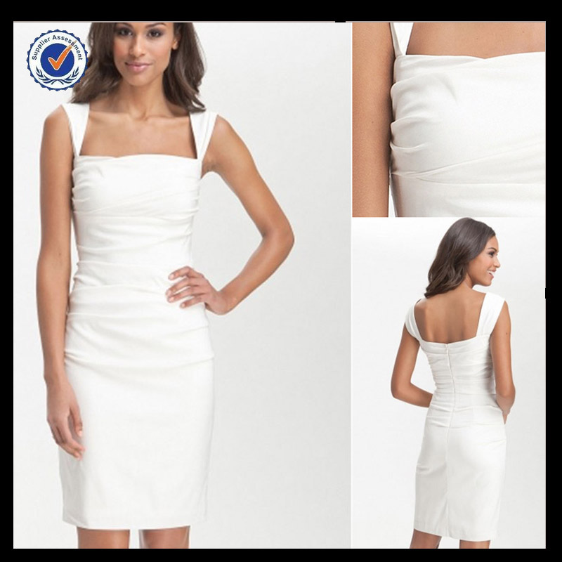 C0047 Western style cocktail dress for fat women white cocktail dress for teenagers