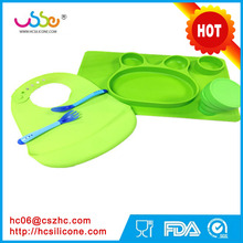 2017 HOT selling Amazon eBay Silicone bunny Placemat and Bib with spoon and fork Set for Baby, Kids - Food Grade