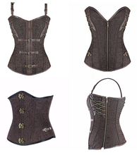 Cheap Steel Boned Sexy Steampunk Underbust Shapers Brown Leather Straps Corset With Buckles