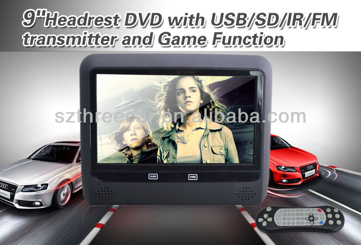 AC newest car headrest Wireless 8bits/32bits game to support 2players function car dvd player headrest sony