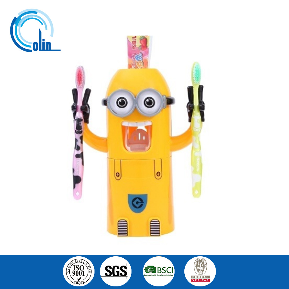 Small yellow man cartoon toothbrush toothbrush cup wash gargle cup set creative lazy automatic toothpaste dispenser sucker
