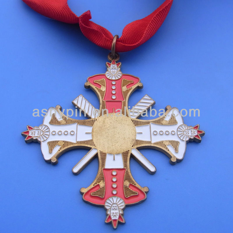 New cross shape customized engraved cut out medal red ribbon cross necklace