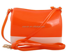 Orange cute jelly bag manufacturer women transparent pvc handbag