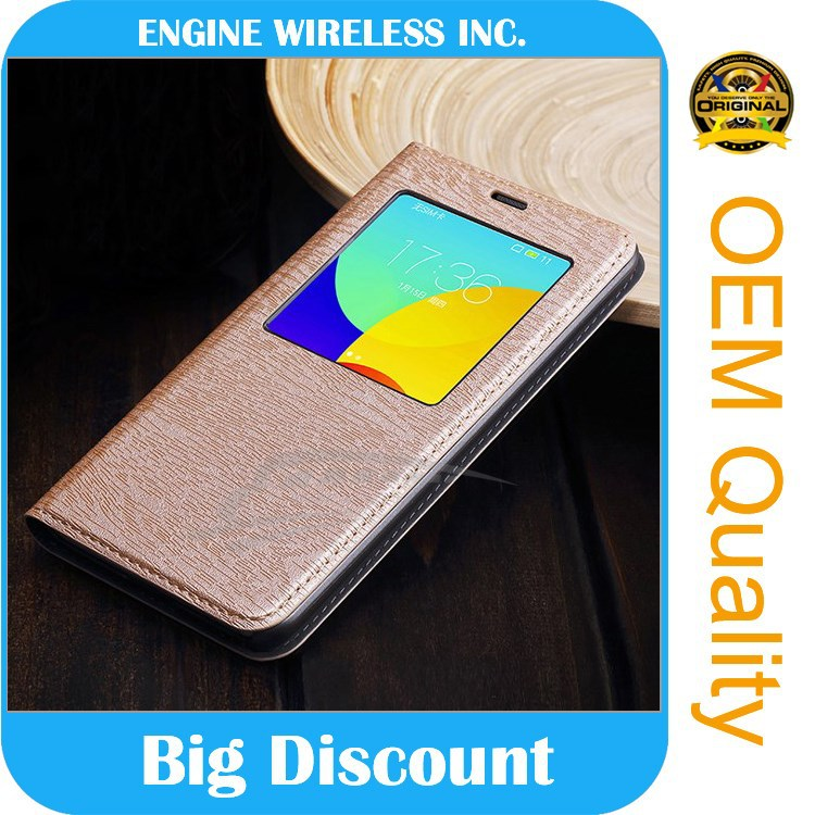 high quality luxury Window cover Genuine pu Leather phone case for huawei g7 case