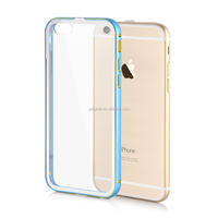 Clear slim transparent hard PC plastic back cover aluminum alloy frame bumper hybrid case for iPhone 6/ 6 plus