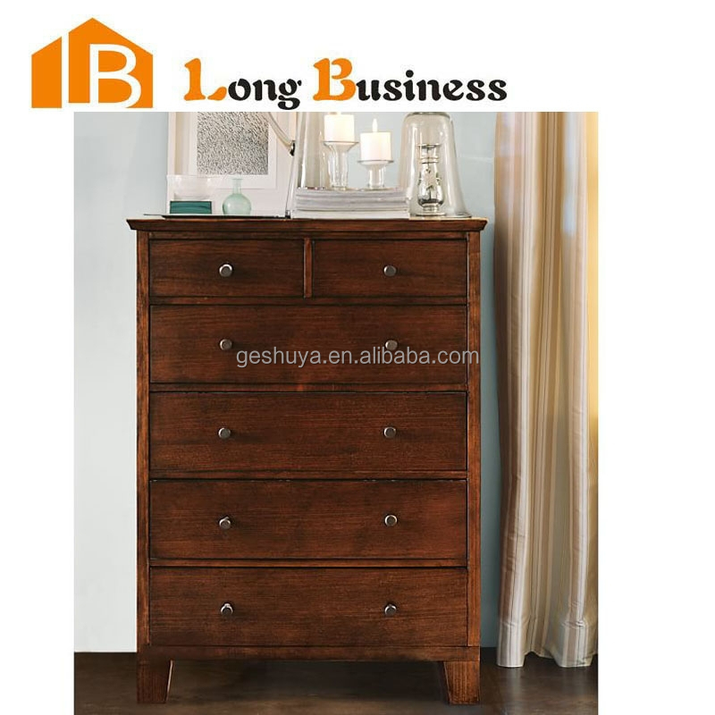 LB-VW5005 Vintage home furniture tall solid wood chest of drawer for sale