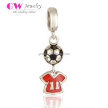 Hotsell Football Beads Hanging NO. Eleven Red Enamel Football T-Shirt Charms Jewerly Accessories