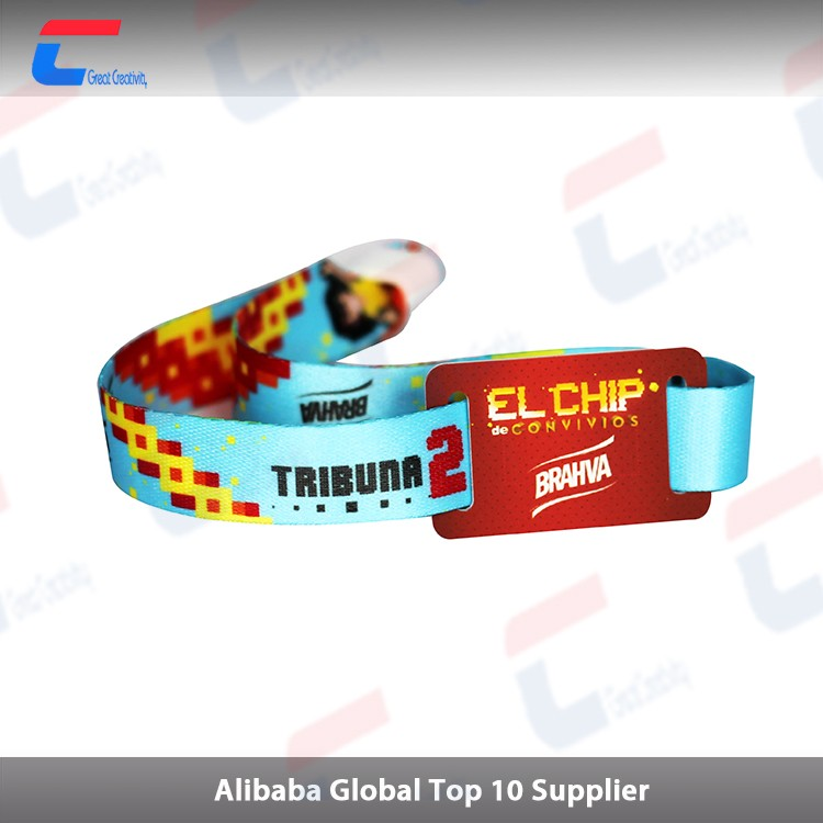 High Secure Fabric Wristband with Plastic Fastener, RFID NFC Bracelet