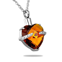 Tawny Diamond November Birthstone Hold My Heart Urn Cremation Jewelry Necklace