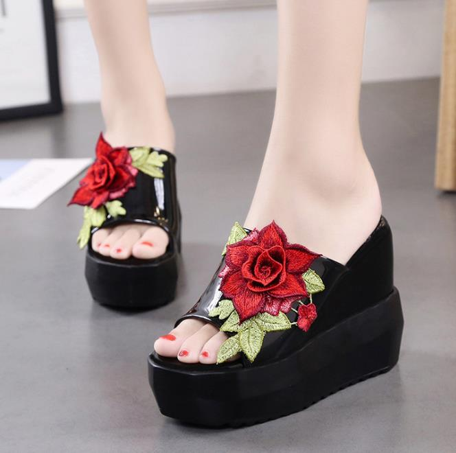 zm51436b black china factory 5cm chunky high heel ladies sandal women wholesale summer slippers women's pu leather