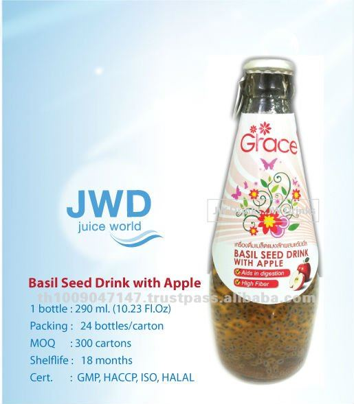 Basil Seed Drink with APPLE in glass bottle 290 ml.