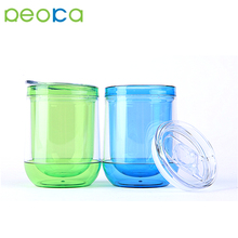 10Oz Double Wall Plastic Egg Tumbler Plastic Wine Glass With Lid Plastic Margarita Glass
