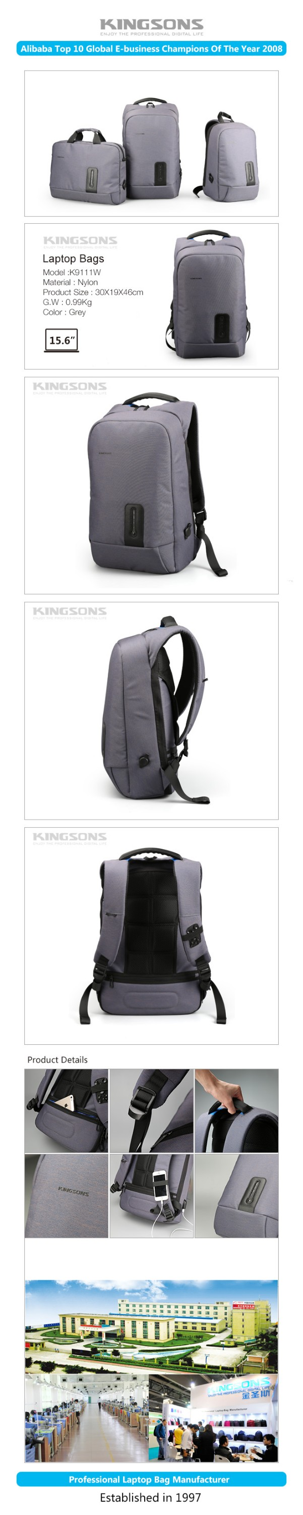 Custom design Mutilfunctional black backpack with usb charger