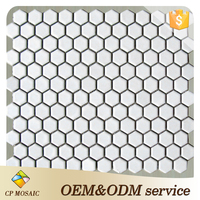 Foshan cheap price hexagon white ceramic tile mosaic for bathroom wall and floor decoration