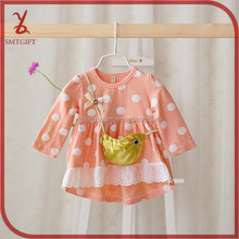 YY22 2015 spring new knit dress baby girl stitching large dot dress