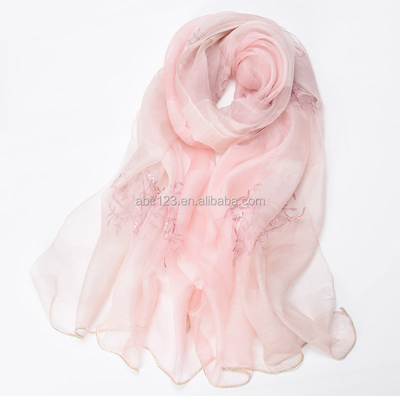 2017 scarves china suppliers wholesale hijabs muslim head scarf wool silk plum blossom embroidered silk shawl scarf