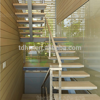 Central Steel Beam Wood Treads Straight Stairs With Cable ...