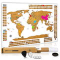 Premium Scratch Off World Map Poster Large World Map with Defined United States Country Flags