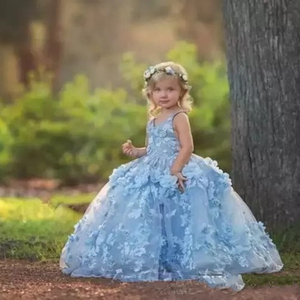 ZH0261X 3D Floral Applique Flower Girls Dresses Cross Straps Backless  Communion Party Gowns Puffy Tulle Ball 09f909ff1c24